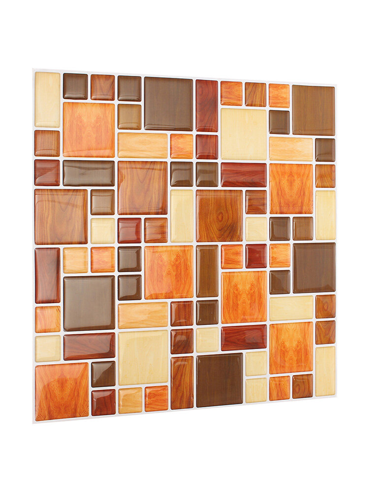 Adesivo 3D Castanho Mosaico de Telha Para Parede Papel Alumínio Decorativo