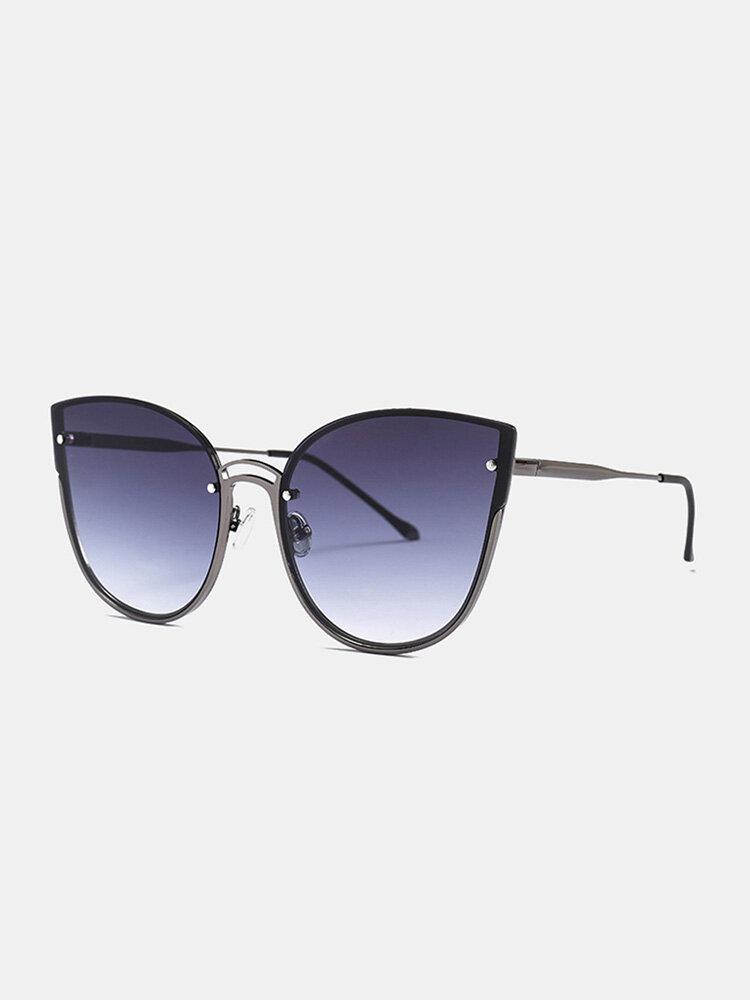 Unisex Metal Cat-eye Frame Hollow Bridge Colorful Lens Anti-UV Sunglasses