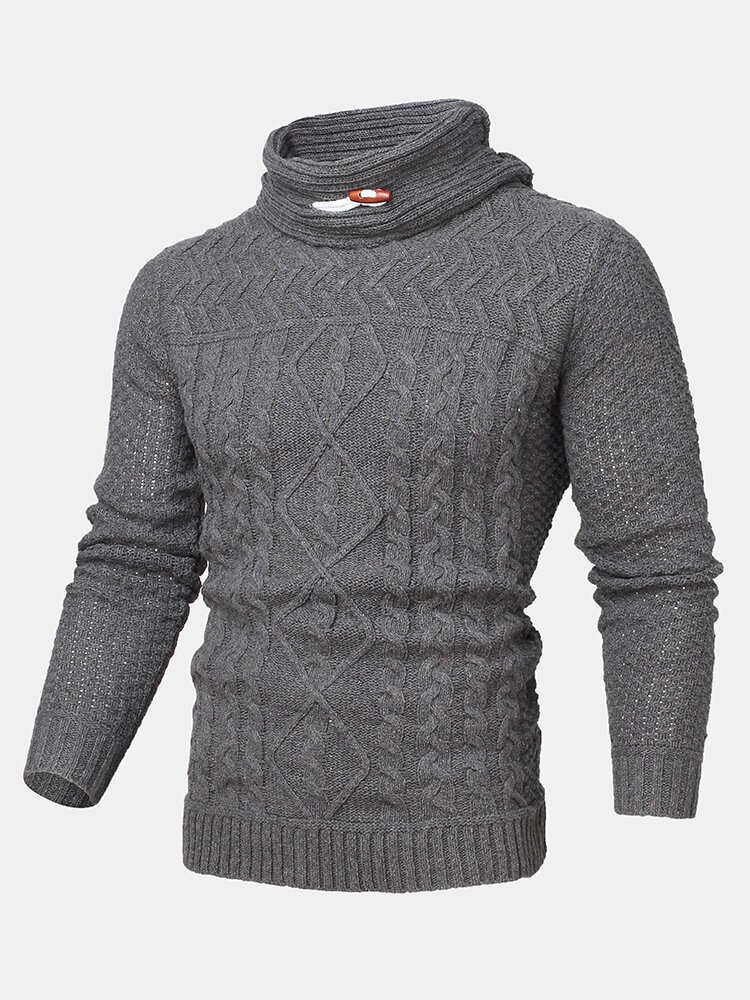 Mens Cable Knitted Solid Color Casual Drawstring Pullover Sweaters