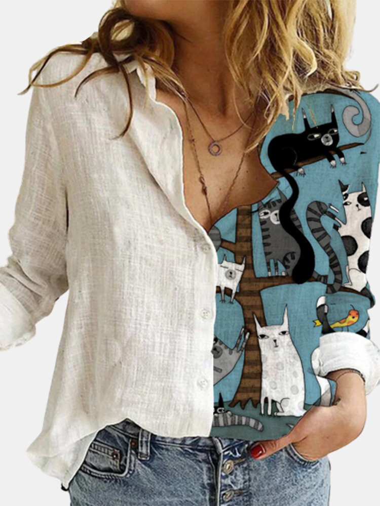 Cartoon Cat Printed Long Sleeve Turn-down Collar Patchwork Blouse For Women