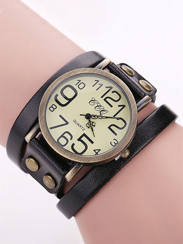 Casual Multilayer Bracelet Leather Wrist Watches Mens Watches Big Number Dial Watches for Women