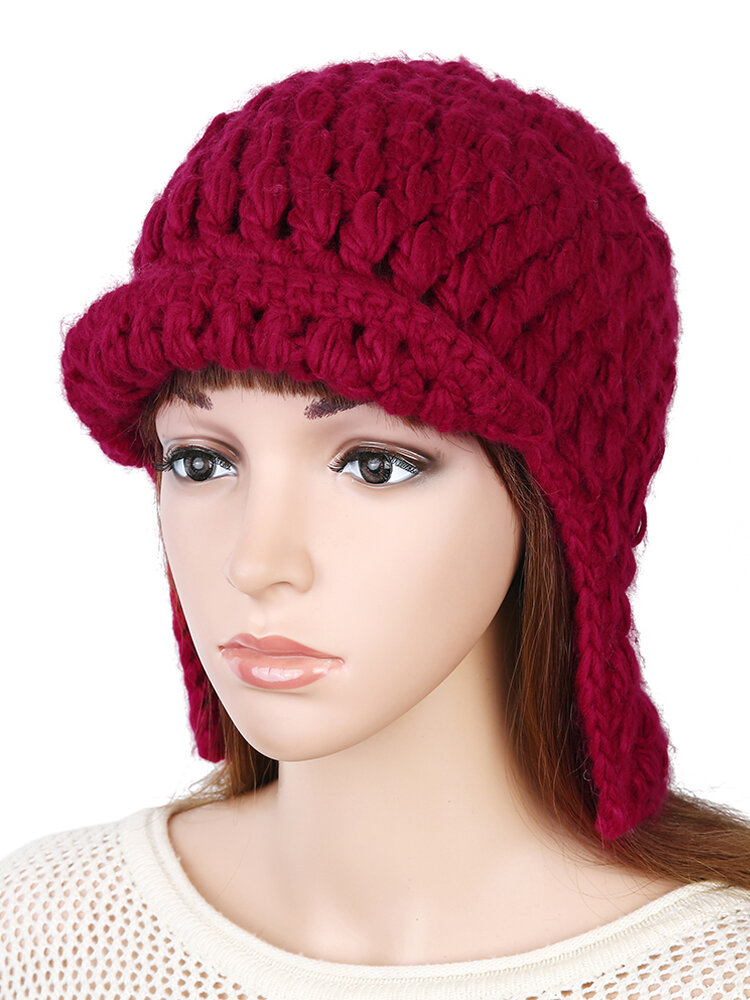 Women Wool Knit Beanie Cap Solid Color Mohair Earmuffs Outdoor Casual Windproof Hat