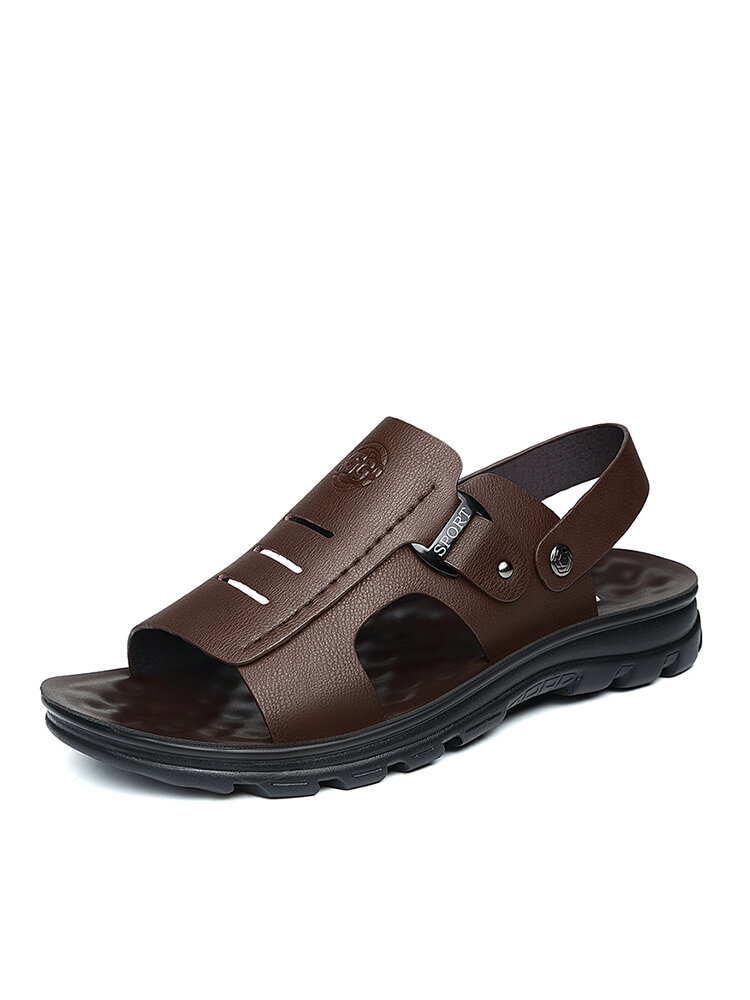 Men Cowhide Leather Opened Toe Hard Wearing Two Ways Sandals