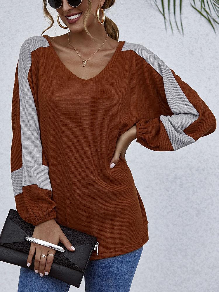 Contrast Color Long Sleeve Loose V-neck T-shirt for Women