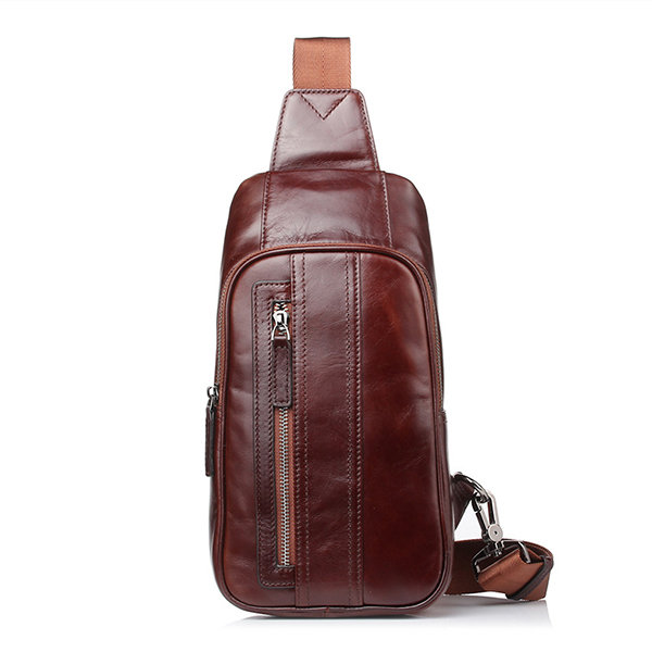Men Genuine Leather Chest Bag Casual Vintage Single-shoulder Crossbody Bag Sling Bag