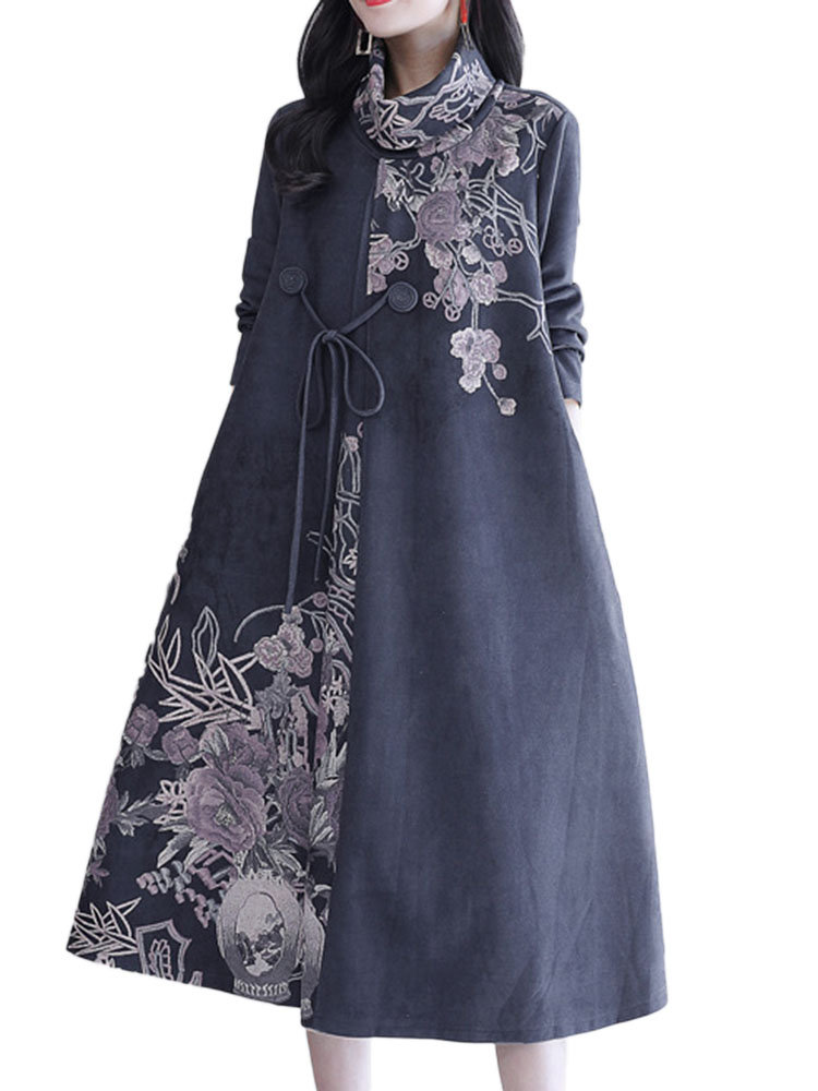 Froral Printed High Neck Long Sleeve Casual Dresses