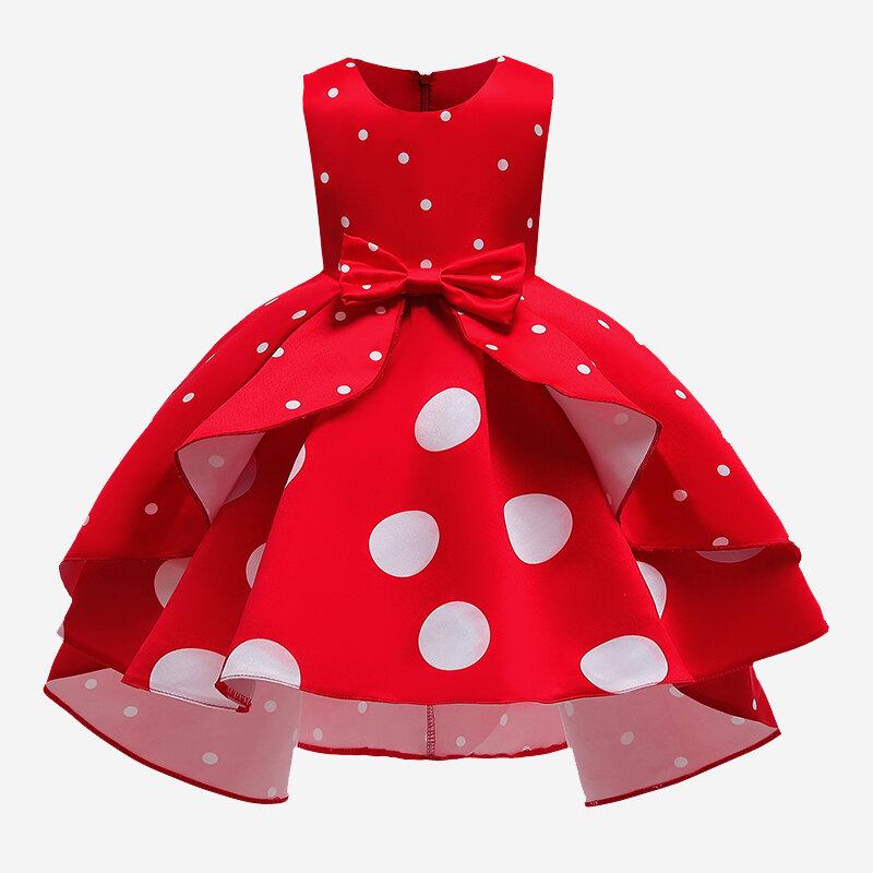 Girl's Dot Print Sleeveless Princess Formal Wedding Dress For 3-11Y