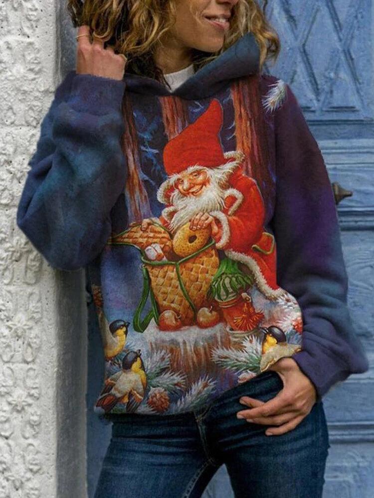 クリスマスの風景は女性のための長袖カジュアルパーカーを印刷します
