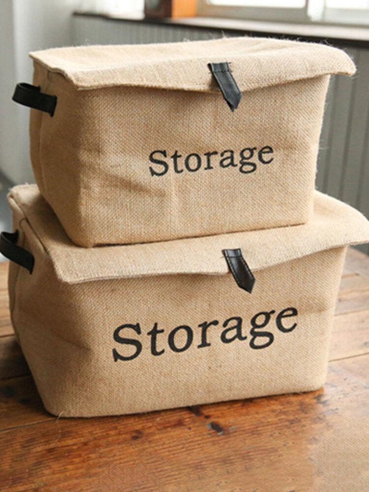 Hemp Square Clothing Storage Box Cotton And Linen Retro Folding