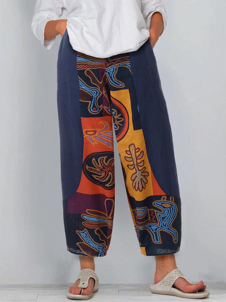 Vintage Printed Patchwork Elastic Waist Plus Size Cotton Pants