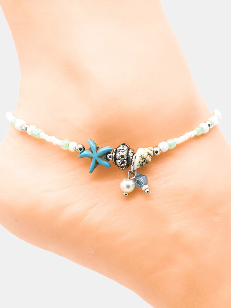 Bohemian Conch Starfish Pendant Beaded Anklet Beach Anklet