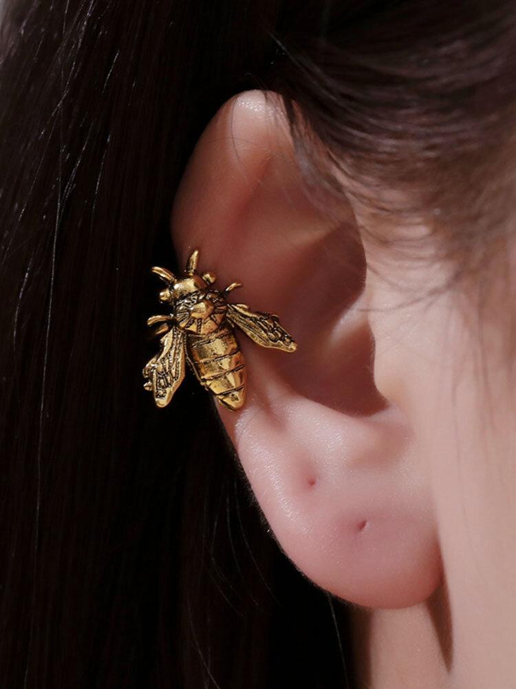 Vintage Three-dimensional Bee Earrings Temperament Metal Animal Shape Earrings