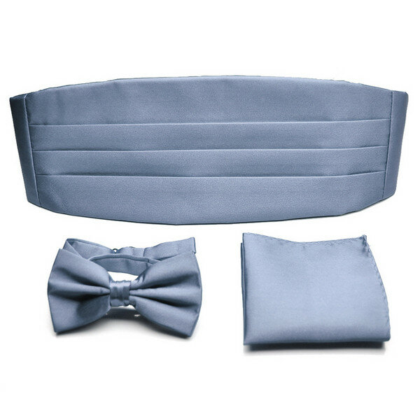 PenSee Men's Formal Neckties Solid Pre-tied Bow Tie Cummerbund Set