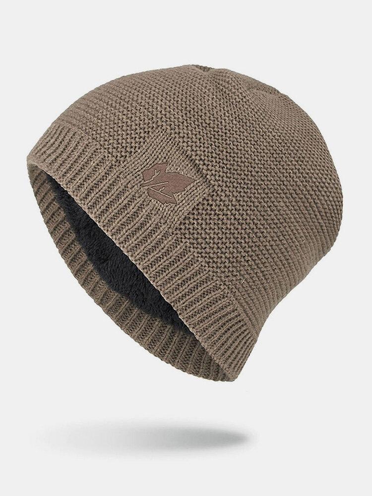 男性冬Plusベルベット刺繡葉屋外ニット暖かいビーニー帽子