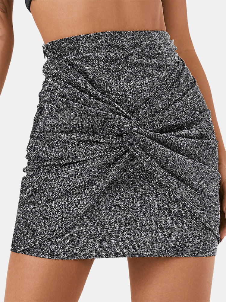 Solid Color Plain Knotted Casual Short Skirt for Women