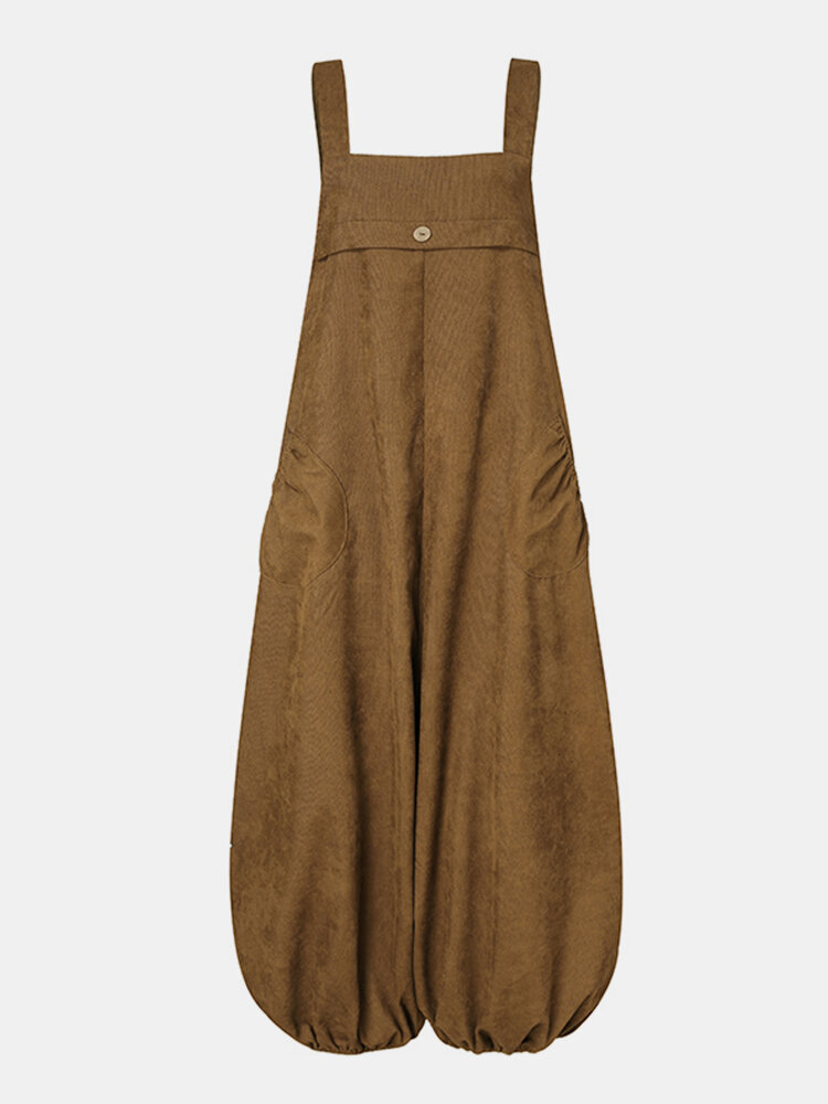 Women Corduroy Solid Color Casual Jumpsuit With Pockets