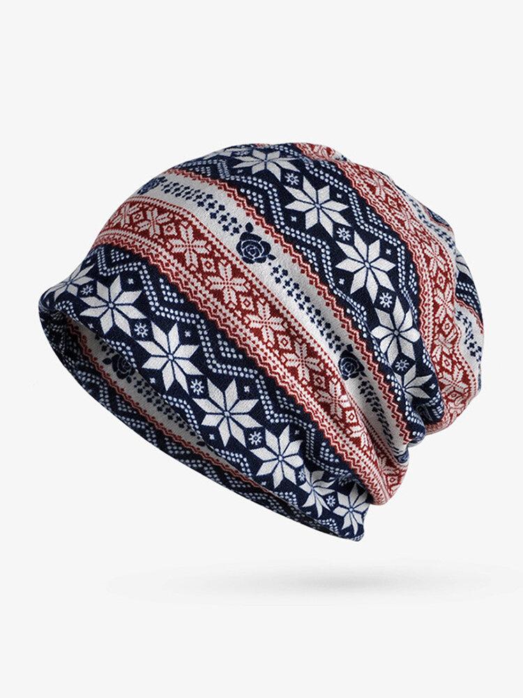 Women Snowflake Print Bonnet Hats Casual Outdoor Windproof Warm Elasticity Knit Cap Collar Dual Use