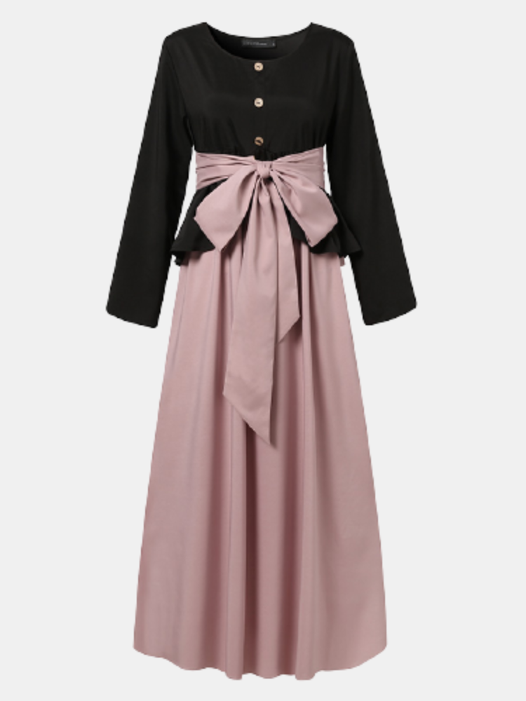 Casual Patchwork Bowknot O-neck Long Sleeve Plus Size Button Dress