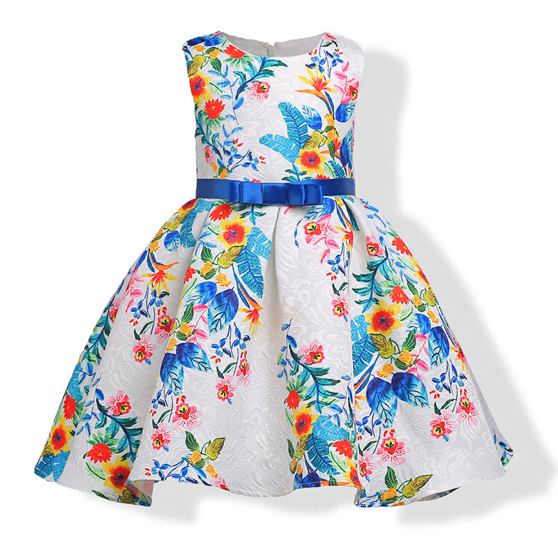 Latest Printed Flower Girl Dresses For Wedding Girls Pageant Party Dress
