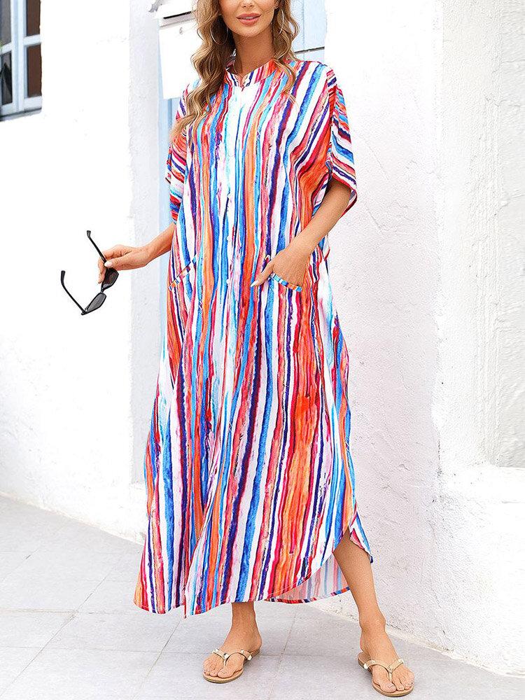 Donna Colorful Costume da bagno con bottoni a righe Camicia Copricostume con tasca