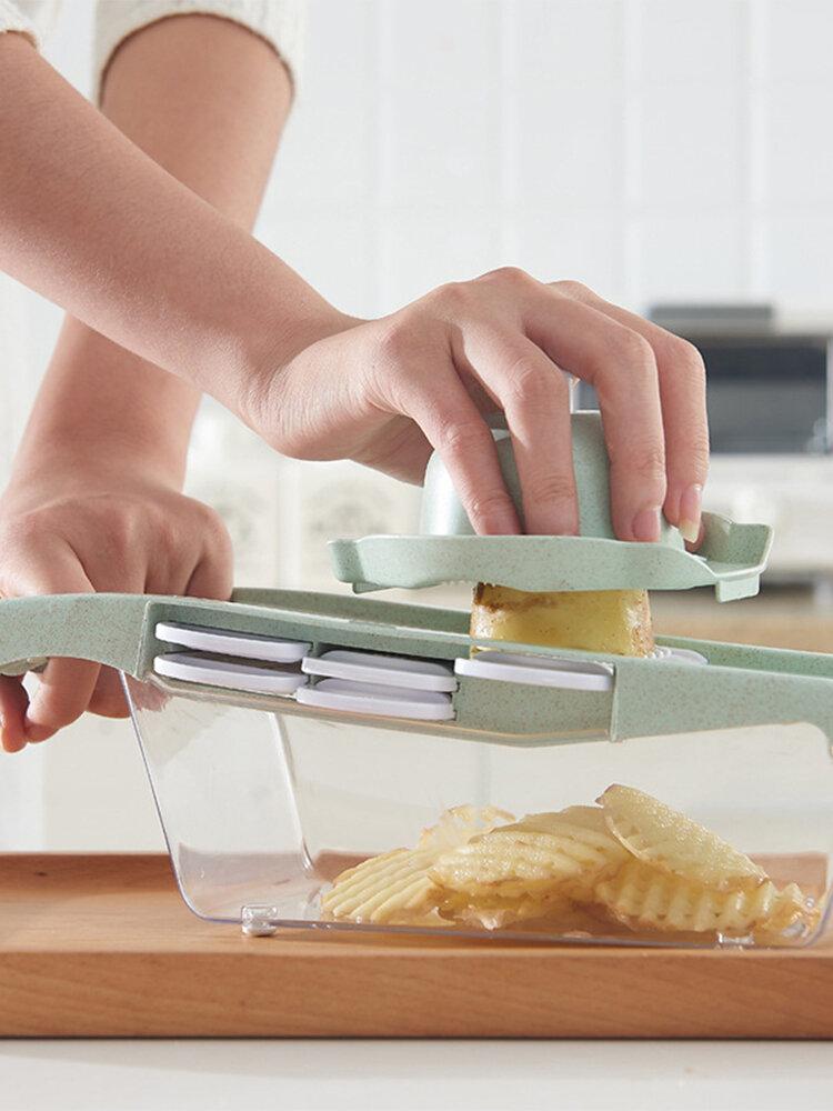 قطاعة خضروات بشفرة فولاذية ماندولين قطاعة بطاطس مقشرة ثوم مبشرة أدوات مطبخ