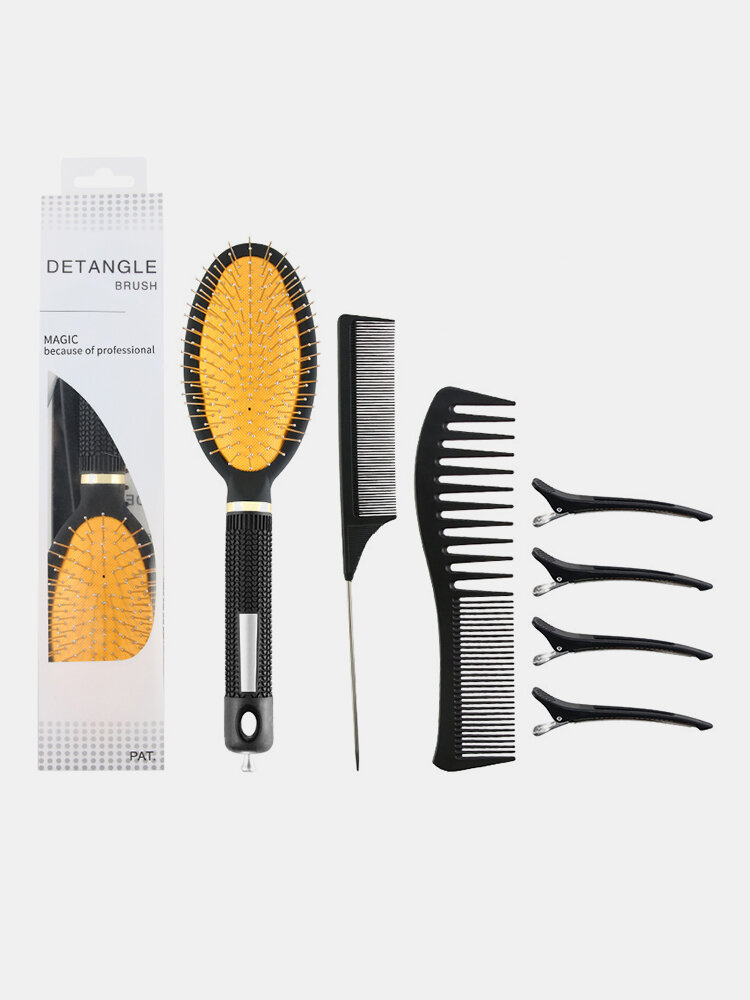 7 Pcs Hairdressing Comb Set Air Cushion Massage Steel Needle Tip-Tail Comb Hair Styling Tool