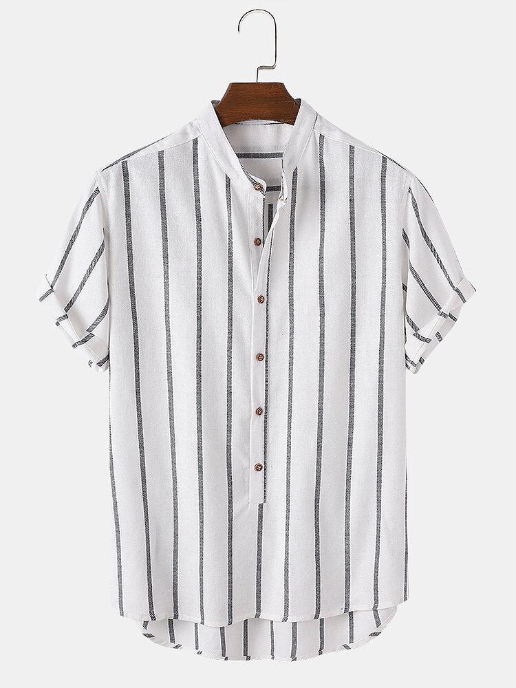 Mens Stripe Curved Hem Short Sleeve 100% Cotton Casual Henley Shirts