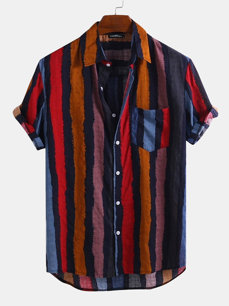 Mens Color Striped Casual Short Sleeve Shirts Wtih Pocket