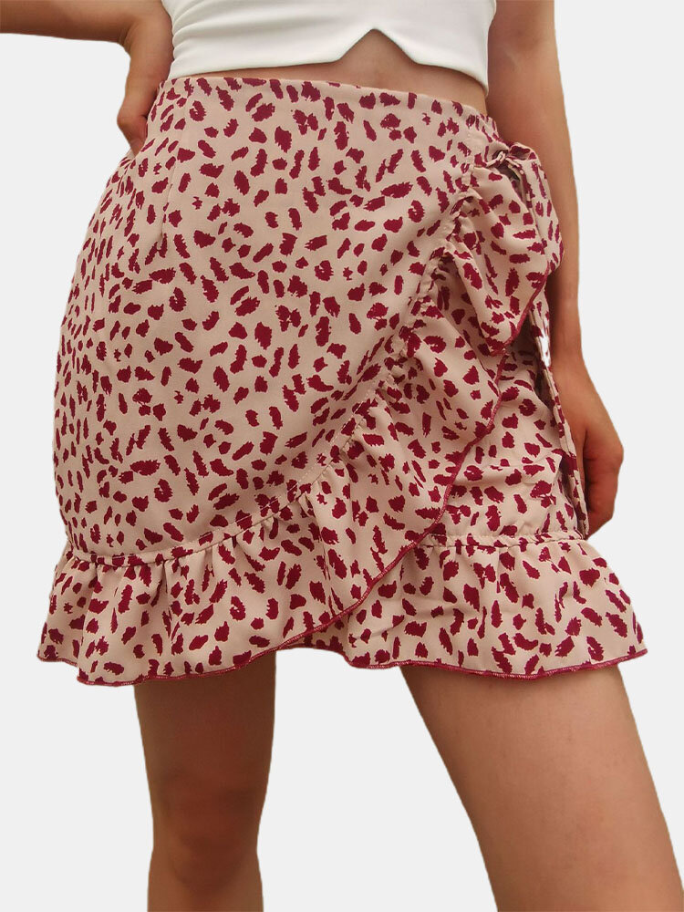 Floral Print Ruffle Knotted Short Skirt