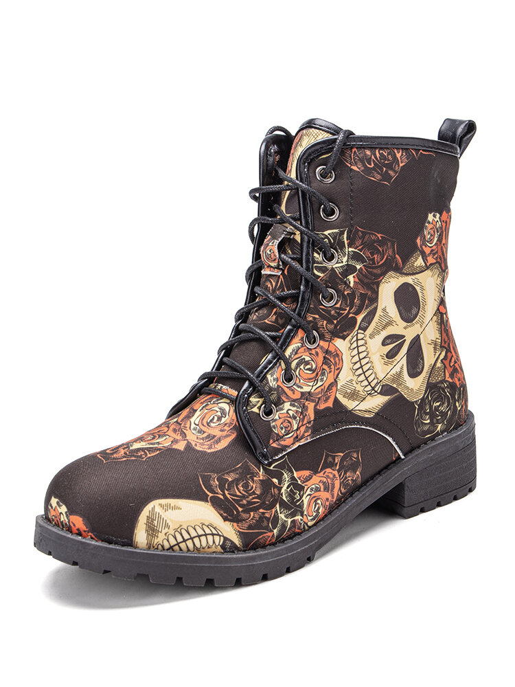Women Halloween Style Skull Printing Canvas Lace-up Short Combat Boots