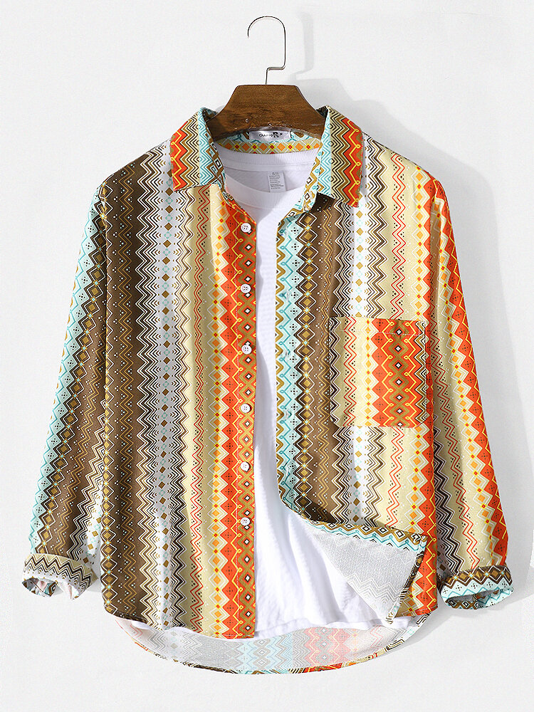 Mens Ethnic Style Print Striped Lapel Long Sleeve Shirt With Pocket