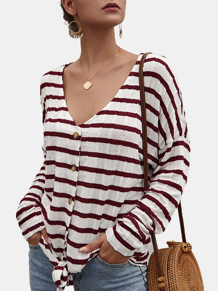 Striped Print Long Sleeves V-neck Button Knitted Sweater For Women