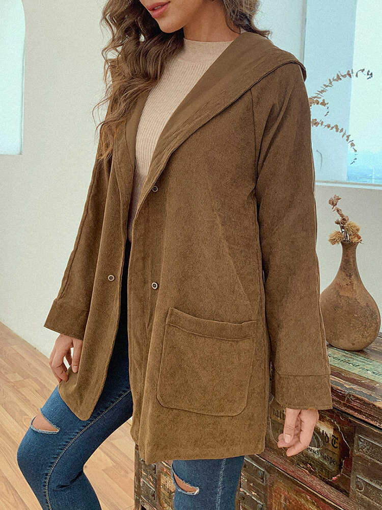 Vintage Corduroy Hooded Pockets Plus Size Jackets
