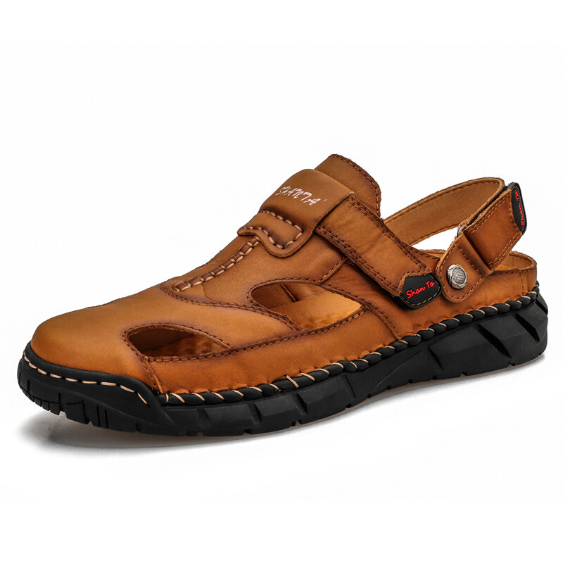 Men Genuine Leather Non Slip Hand Stitching Soft Sole Casual Sandals
