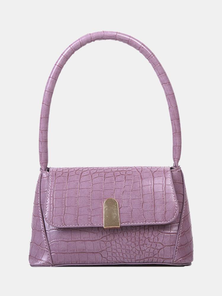 Women PU Alligator Solid Shoulder Bag Handbag