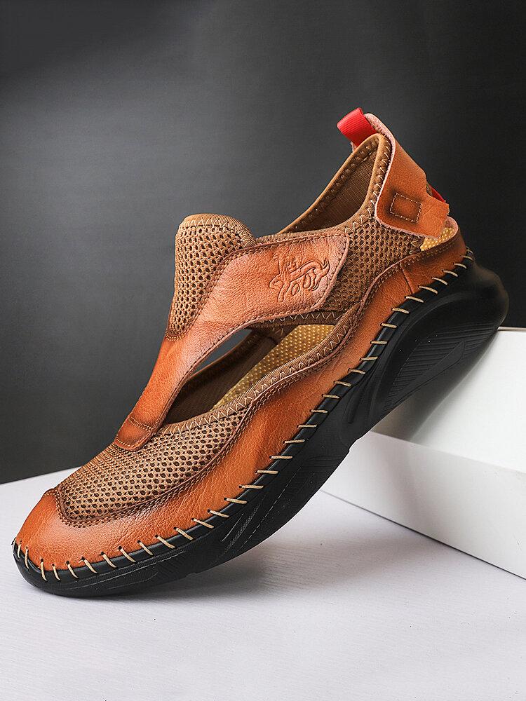 Sandales en cuir fermées respirantes en maille pour hommes
