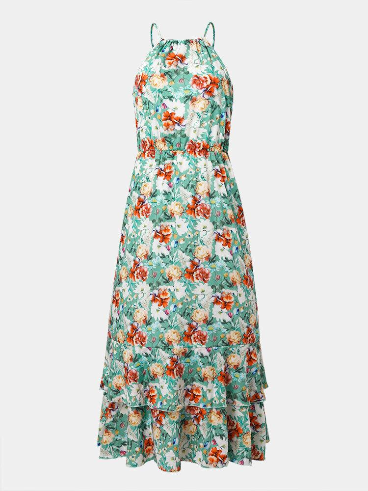 Summer Holiday Flower Print Halter Layered Drawstring Sleeveless Maxi Dress