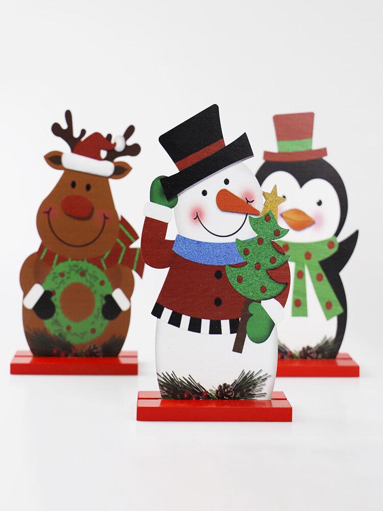 1Pcs DIY Wood Crafts Christmas Snowman Elk Christmas Ornaments Decoration Santa Claus Wooden Embellishment Table Decorations