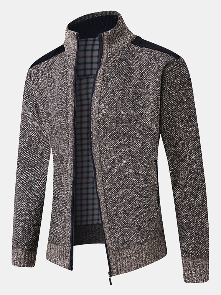 Mens Patchwork Zip Front Knit Patched Sleeve Warm Cardigans