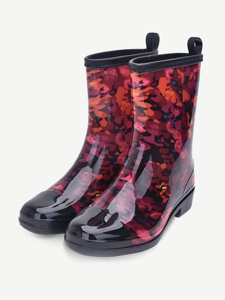 SOCOFY Waterproof Low Heel Garden Mid Calf Rain Boots