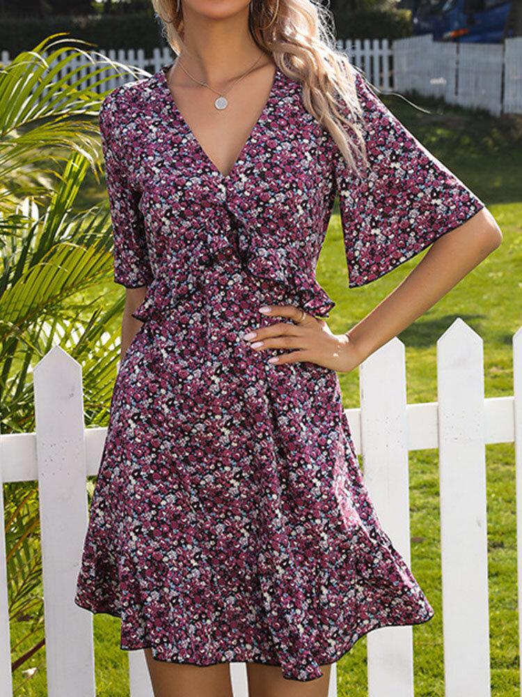 Vestido feminino com estampa floral de verão Holiady com babado e decote em v meia manga oco