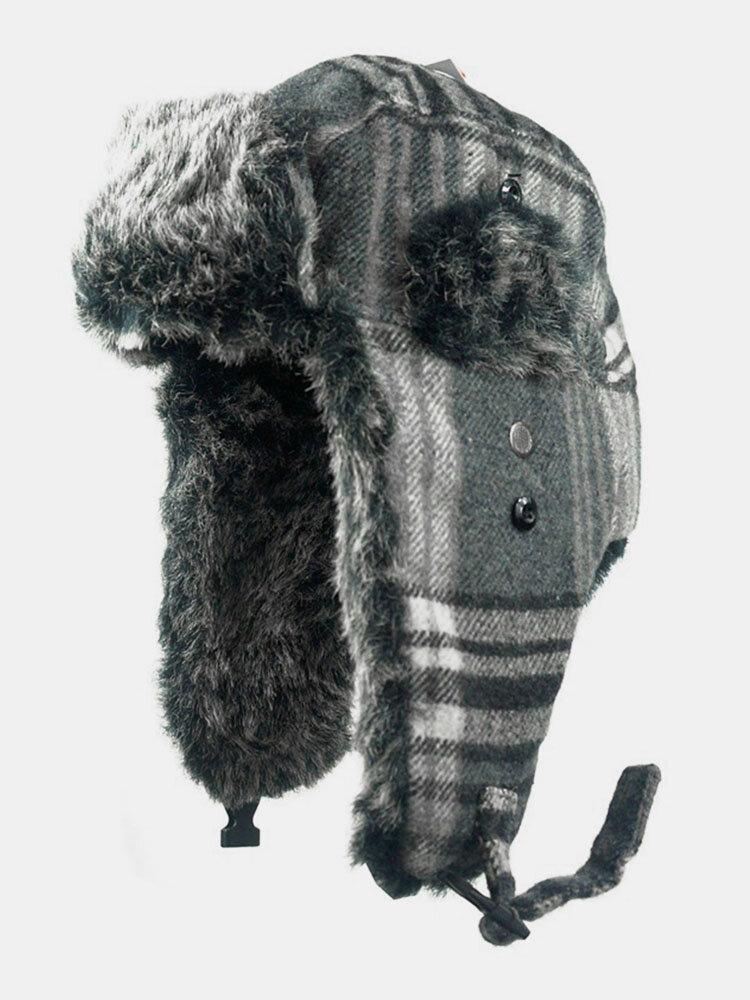 メンズチェック柄防寒冬用トラッパーハット厚手の冬用ハット耳保護トラッパーハット