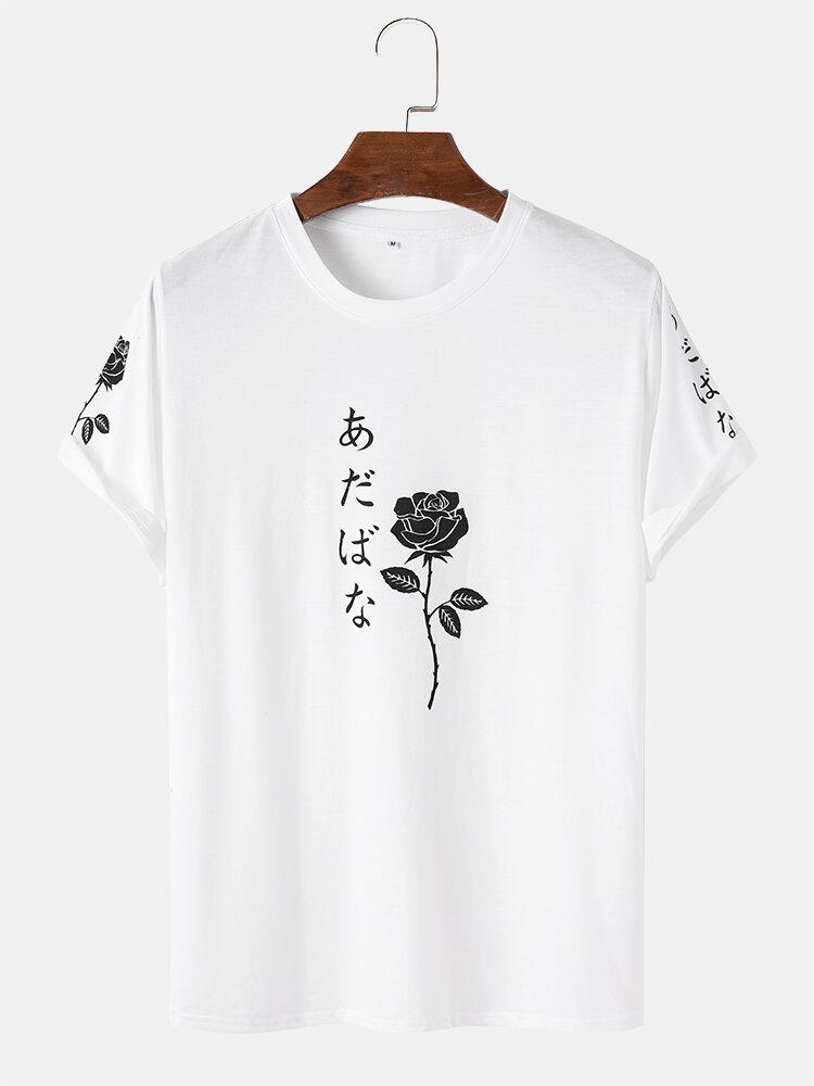 メンズローズ柄日本語キャラクタープリント半袖ストリートTシャツ