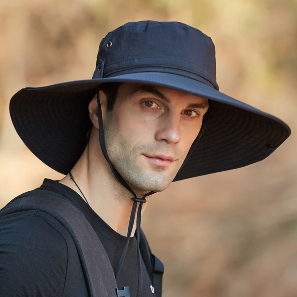 Hat Male Sun Hat Outdoor 12CM Oversized Brim Fisherman Hat Men Summer Mountaineering Sun Hat