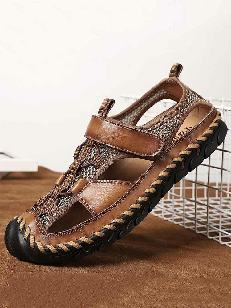 Sandálias masculinas de couro fechado com costura à mão com costura externa antiderrapante
