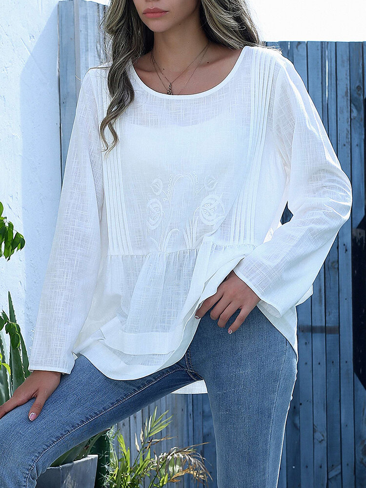 Flower Embroidery O-neck Long Sleeve Pleated Women Blouse