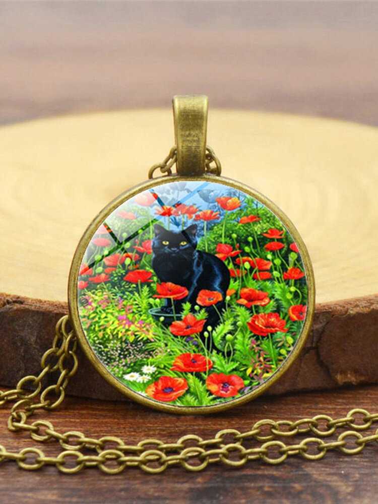 Vintage Glass Printed Women Necklace Rose Black Cat Pendant Sweater Chain Jewelry Gift