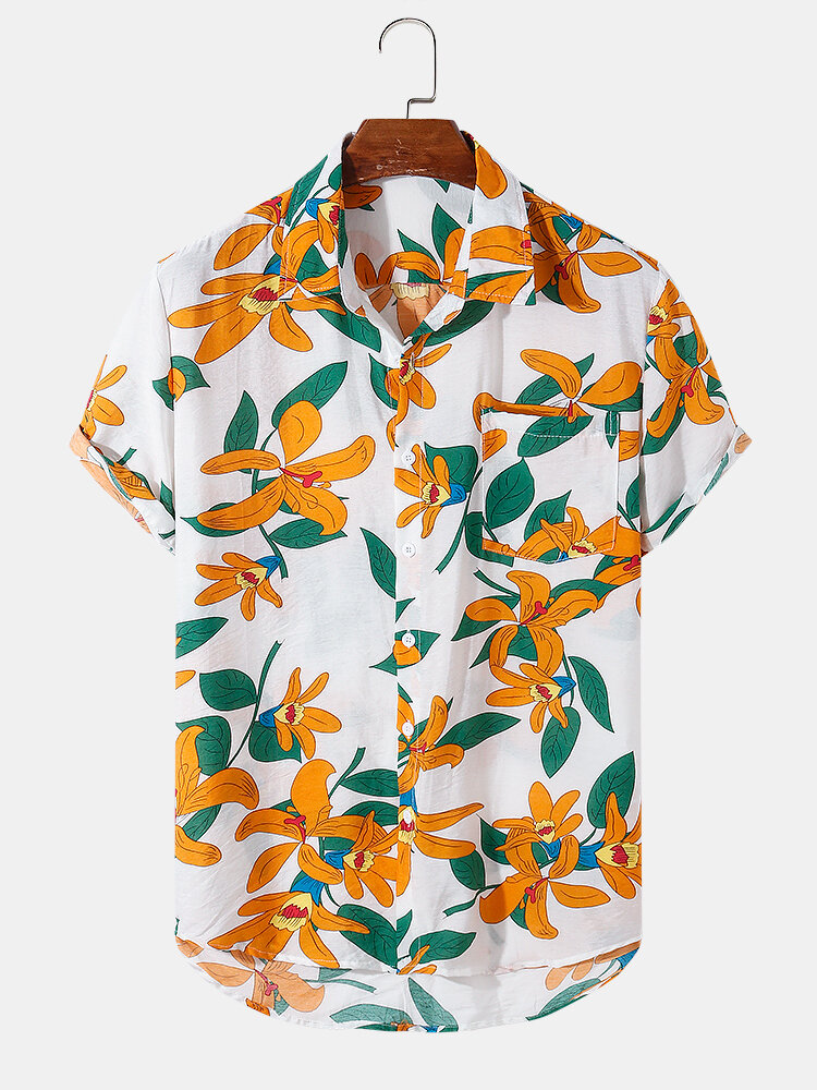 Mens Plant Flower Print Holiday Short Sleeve Shirts With Pocket
