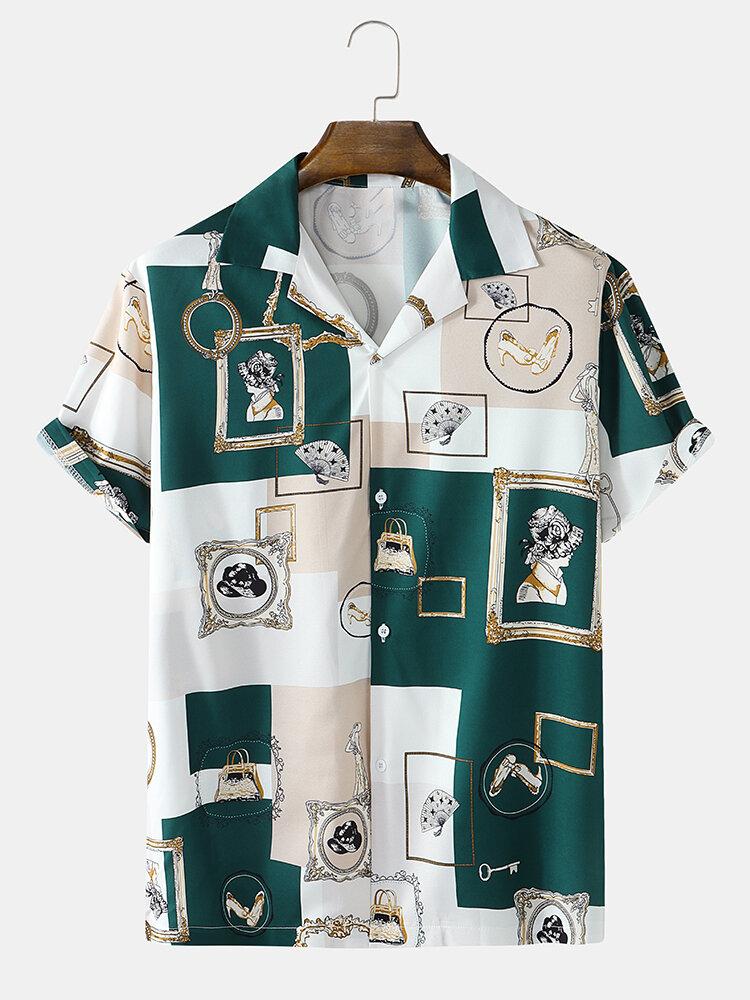 メンズバロックカラーブロックプリントリビアカラーヴィンテージ半袖シャツ