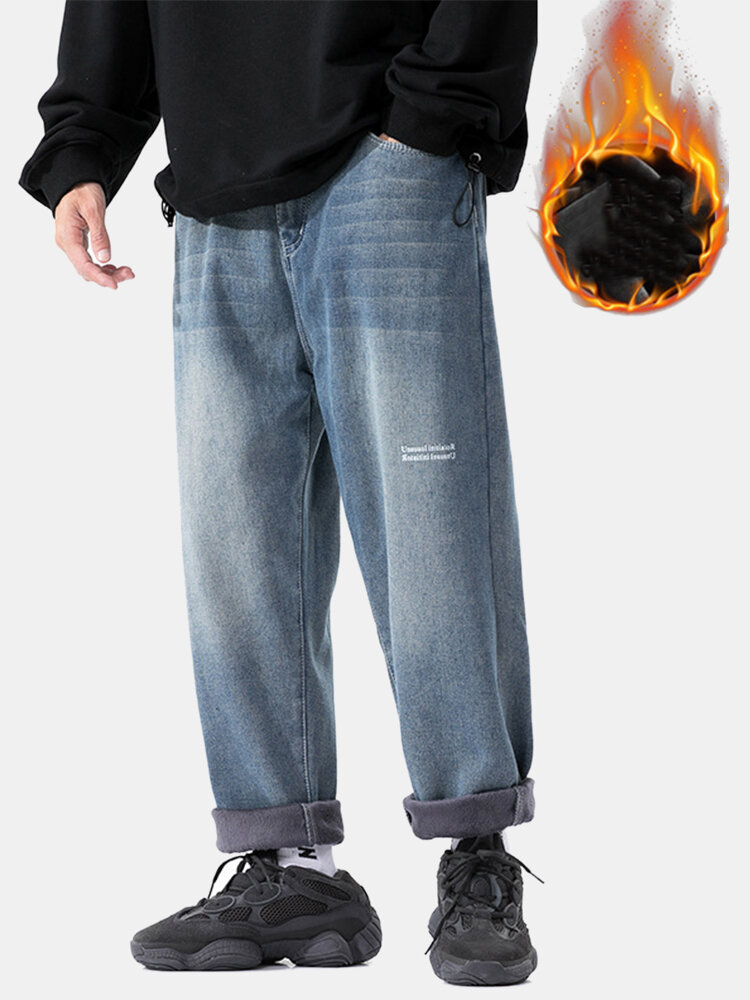 Mens Thicken Plus Velvet Distressed Casual Loose Warm Jeans